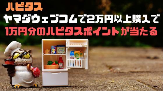 ヤマダウェブコムで2万円以上購入すると、ハピタスポイント1万が当たるチャンス