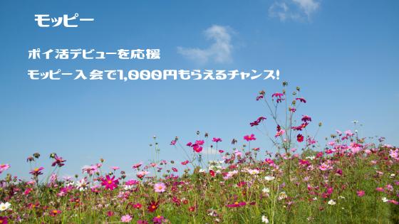 モッピー ポイ活デビュー応援キャンペーンで1000円もらって入会しよう