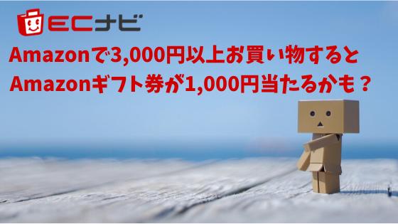 Amaoznで3,000円以上お買い物するとAmazonギフト券1,000円が当たるかも