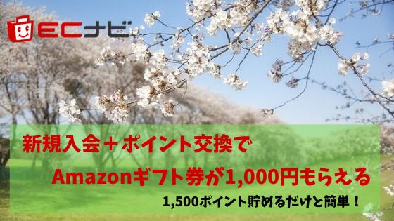 ECナビ 新規入会+ポイント交換でAmazonギフト券1,000円がもらえる