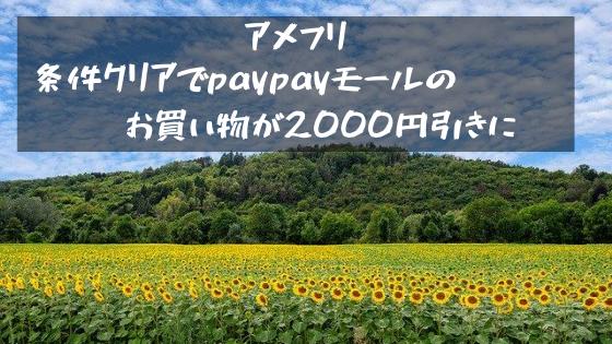 アメフリ 条件クリアでpaypayモールのお買い物が2000円引きに