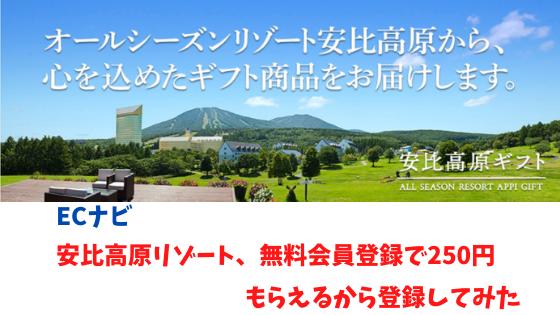 ECナビ 安比高原リゾート、無料会員登録で250円もらえるから登録してみた