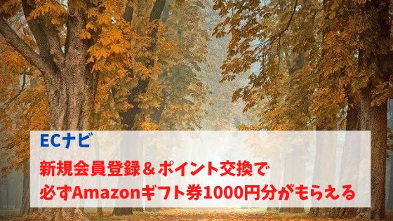 ECナビ 新規入会&ポイント交換で必ずAmazonギフト券1000円分が貰える