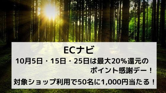 ECナビ 10月5日・15日・25日は最大20%還元のポイント感謝デー!さらに抽選で50名に1,000円当たる